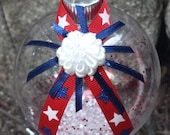 9 11 (September 11th) Memorial Christmas Ornament - LARGE - Red, White & Blue