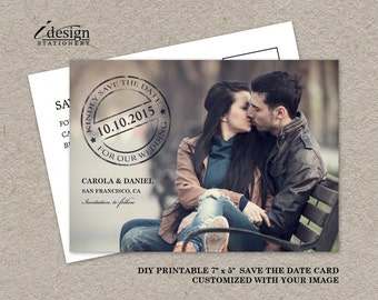 Photo Save The Date Postcard, DIY Printable Postmark Wedding Save The Date Card, Wedding Announcements, Picture Save The Dates With Calendar