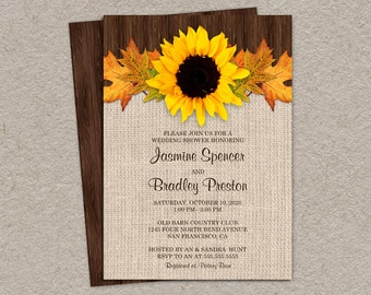 Rustic Fall Wedding Shower Invitations With Sunflower And Leaves, DIY Printable Rustic Country Couples Shower Invitation Cards