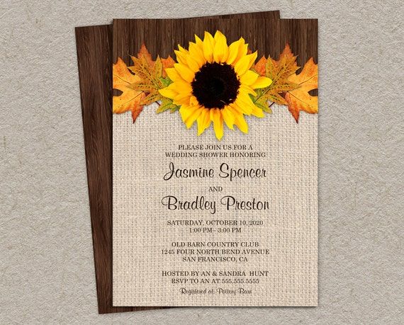 Rustic Fall Wedding Shower Invitations With Sunflower And
