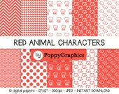 DIGITAL PAPER - Animal characters, 10 sheets, red