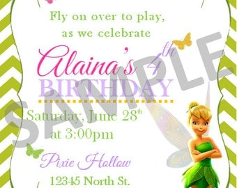 Personalized Tinker Bell Party Printable Invitation/Card
