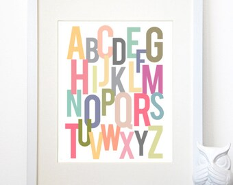 ABCs - Colorful Alphabet Poster - Nursery or Playroom Typography - A Digital Print in Various Sizes (5x7, 8x10, 11x14 or 13x19)