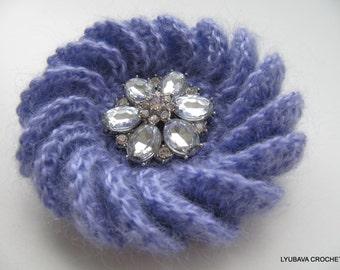 CROCHET BROOCH, Lavender Mohair Flower, Crochet Jewelry, Winter Gifts For Her, Crochet Flower, Hand Crocheted Item, Lyubava Crochet