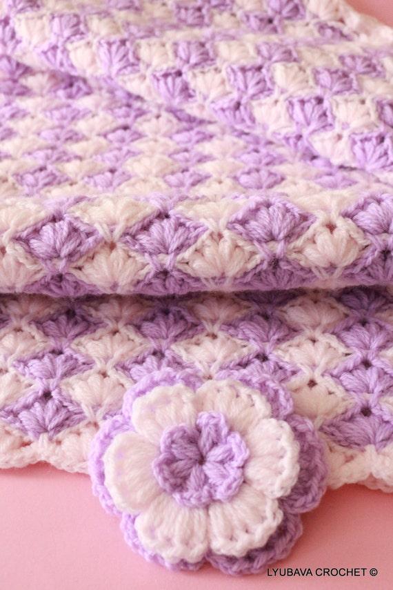 CROCHET BABY BLANKET, Lilac Lily Baby Blanket For Girls, Baby Shower Gift, Lovely Baby Girl Blanket Hand Crochet For Sale, Lyubava Crochet