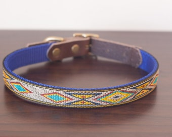 "Custom Leather Blue/Yellow/Sand Dog Collar. Navajo Turquoise 1/2"""
