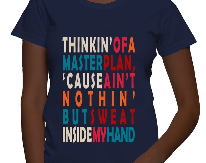 Eric B & Rakim Paid in Full Classic Hip Hop Lyrics Women's Fitted T-shirt - Navy Blue
