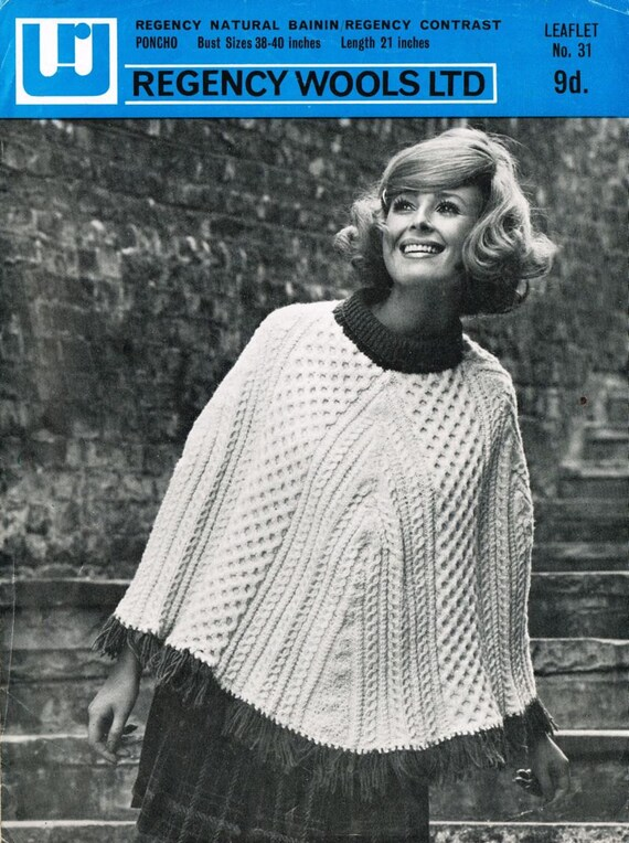 Regency 31 Ladies aran poncho vintage knitting pattern PDF