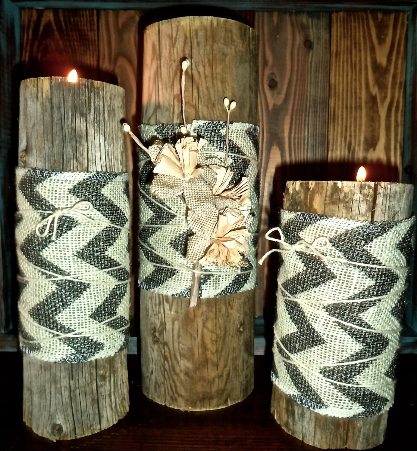 Log tea light candle with burlap chevron by for Burlap lights