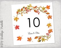 """Printable Fall Table number template DIY number templates Digital """"Fall"""" leaves wedding -Editable Autumn/ Thanksgiving Word instant download"""