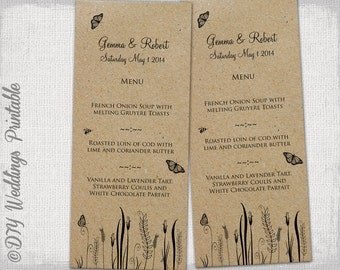 "Rustic wedding Menu template ""Butterfly Meadow printable menu -DIY wedding templates, digital menu -Editable template-instant download"