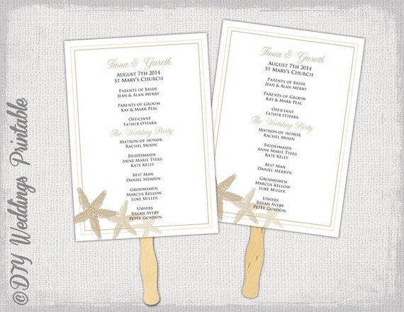 """Beach Fan program template """"Starfish"""" Champagne and ecru DIY wedding order of ceremony printable natural fan program Word instant download"""