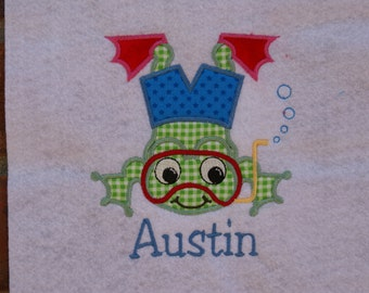 Swimming boy Frog Applique