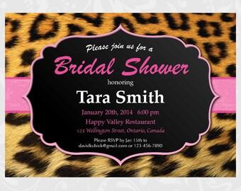 Leopard Print Bridal Shower Invitation. Hen Night. DIY Printable Invite.