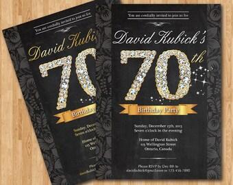 70th Birthday Invitation. Black and gold diamond number birthday bash invite. Chalkboard background. Custom any color wording. Printable DIY