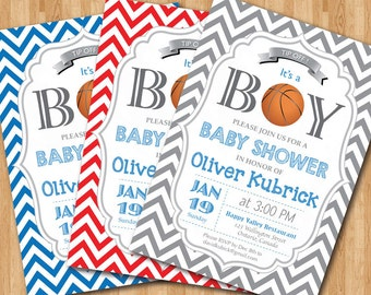 Basketball Baby Shower Invitation. Baby Boy Chevron Invites. Baby Boy  Birthday Party Invitations.