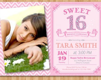 Sweet 16 birthday invitation with photo. Sweet sixteen diamond 16 number birthady party invites. Printable Digital DIY.
