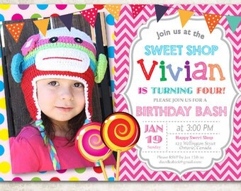 Candy Shop Birthday Invitation. Sweet Shop Party. Baby girl 1st first birthday party invite. Any age with photo. Printable digital DIY