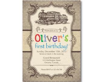 Train Birthday Invitation. Vintage Retro Train Toy Birthday Party Invite. Boy or Gril. Wood background. DIY digital printable.
