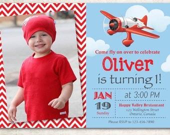 Airplane Birthday Invitation. Airplane Theme Party Invite. Boy 1st first Bday with custom photo. Red chevron stripes. DIY digital printable