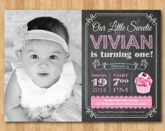 Chalkboard Cupcake Birthday Invitation. 1st first birthday party invite with custom photo. Baby Girl Pink Cupcake Any age. Printable digital