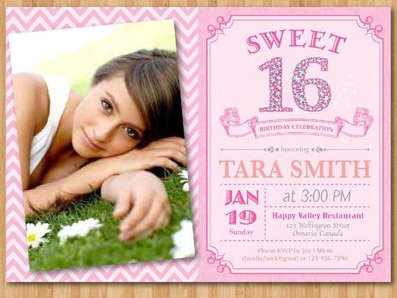 sweet 16-geburtstag-einladung mit foto. süße sechzehn diamant, Einladungsentwurf