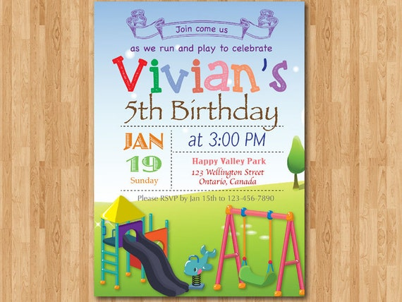 Playground birthday invitation kids park birthday party like this item filmwisefo Gallery
