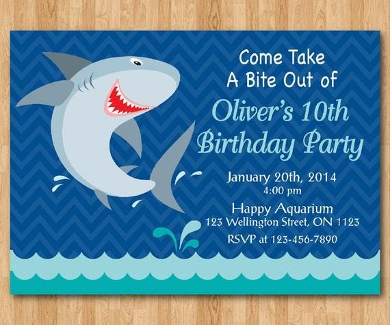 Shark Birthday Invitation Shark Theme Birthday Party Invite