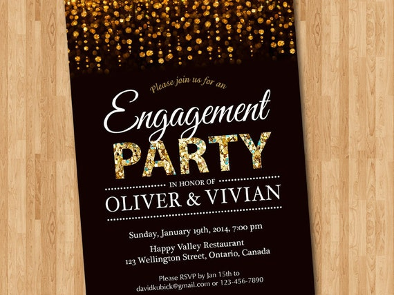 Engagement party invitation engagement dinner invite glitter for Online engagement party invitations