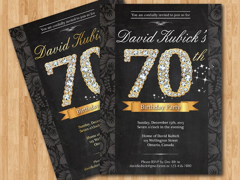 th birthday invitation. black and gold diamond number birthday, Birthday invitations