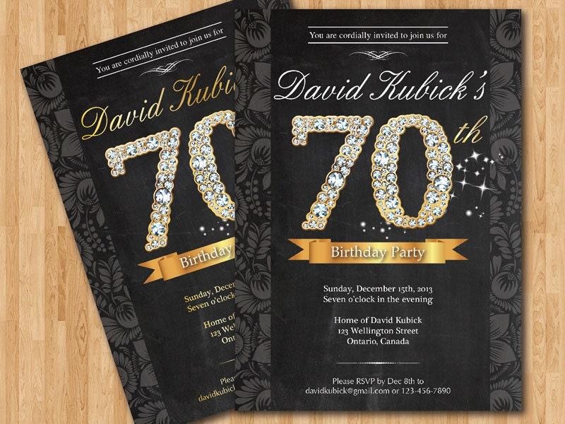 70th birthday invitation. black and gold diamond number, Birthday invitations