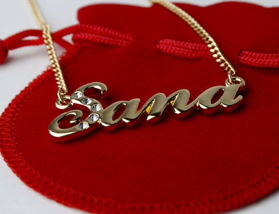 Name Necklace Sana Gold Plated 18ct By Goldnamenecklaces