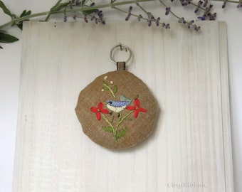 Embroidered Linen Key Fob, Cosy Design , Cosy Key Chain