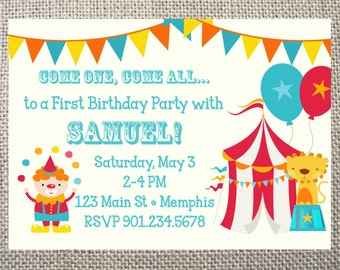 PRINTED or DIGITAL Circus Carnival Clown Birthday Party Invitations 5x7 Customized Circus Design 0.82 each