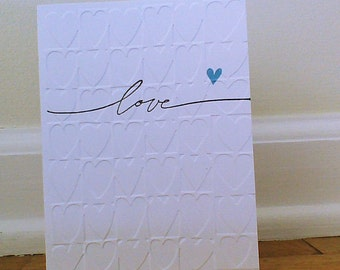 Greeting Card Wedding Card Anniversary Card Birthday Card Baby Shower Card Hand Stamped Card Handmade Card Blue Heart Greeting Card