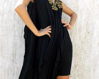 Loose Black Jumpsuit Dress / Plus Size Loose Dress Jumpsuit with Accessories / Plus Size Extravagant Jumpsuit TJ07