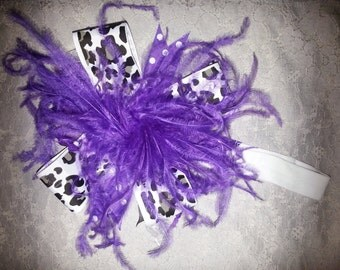 Baby Girl Bow, Large Hair Bow, Feathers Hair Bow With Matching Headband Purple and White, READY To Ship