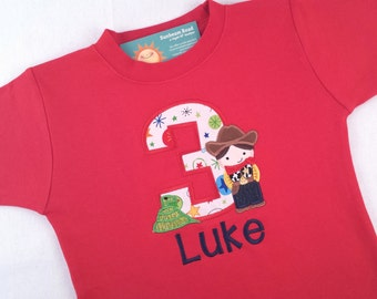 Sheriff Birthday Shirt with Number and Embroidered Name