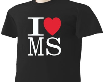 I Love Mississippi T-Shirt Heart MS