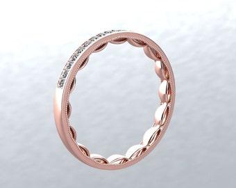 Diamond Wedding Band 14kt Rose Gold Round Natural DIAMOND Wedding Ring Wedding Band Anniversary Ring Engagement Modern Chic Love Inspired