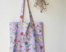 Tote Bag Purple Totes Bugs Bunny Fabric Tote Shopper Market Bag Extra Pocket