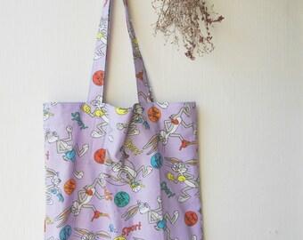 Sale Tote Bag Purple Totes Bugs Bunny Fabric Tote Shopper Market Bag Extra Pocket Christmas Gift