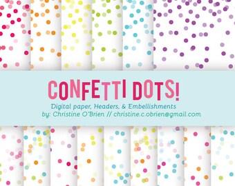 Confetti Dots! Digital Paper, Headers, and Clip Art Embellishments Set *digital download*