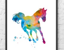 Watercolor horse art print, watercolor painting print, animal art, horse print, home decor, wall art - 1
