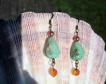 Rustic Handmade Turquoise, Carnelian & Copper Earrings. Semiprecious Stone, Earrings, Natural Turquoise Earrings