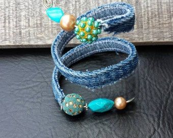 Unique upcycled handmade one of a kind recycled denim and turquoise and gold bead wire wrapped  bracelet