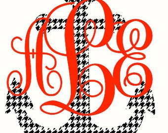Houndstooth Anchor Monogram Car Decal