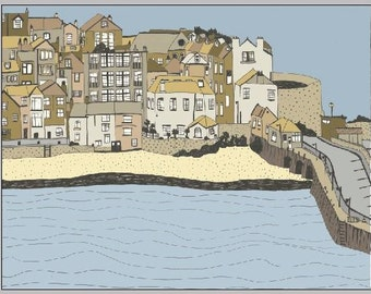 St Ives, Cornwall 7x5inch mounted limited edition print