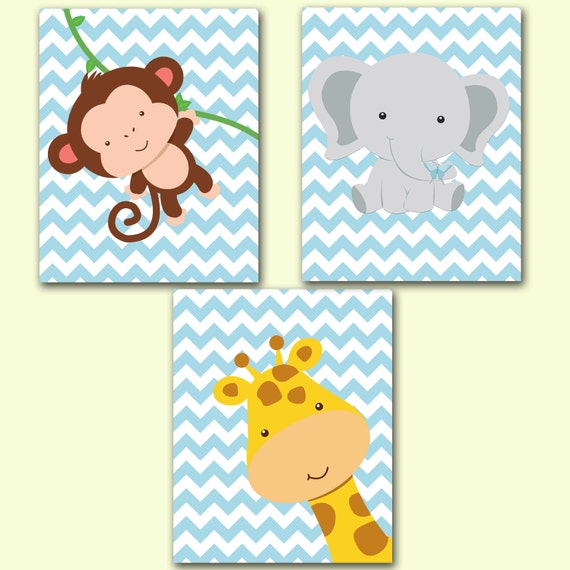 Giraffe Monkey Elephant Set Baby Blue Chevron Zoo Animals Nursery Room ...