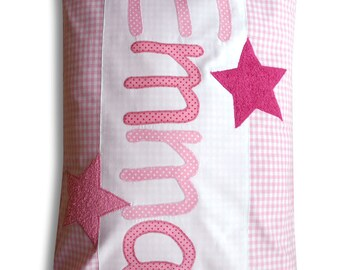 Name cushions, pillow with names and stars, cuddly pillows, personalized pillows